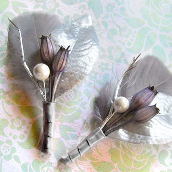 2 Grey boutonnieres silver boutineers winter boutonnieres winter wedding christmas wintery grey feather silver leaves gray