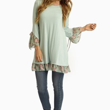 Mint Green Floral Chiffon Trim Top