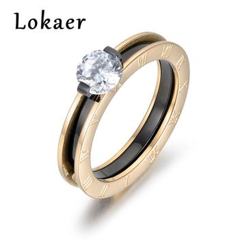 Lokaer Classic Gold Color Cubic Zirconia Wedding Ring Jewelry Stainless Steel Roman Numbers Rings For Women Anneau R180260433