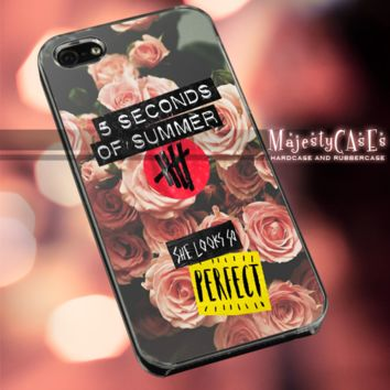 MC81Y11 5 ,second of summer,flower,floral,classic,old- Accessories case cellphone - Design for iPhone 6 - Black case - Material Soft Rubber