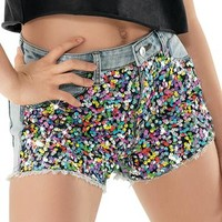 Distressed Sequin Denim Short - Urban Groove