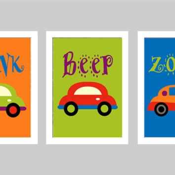 BEEP, HONK, ZOOM Car Wall Art Print - Choose Size - Nursery, Bathroom, Baby Boy's Room, Playroom