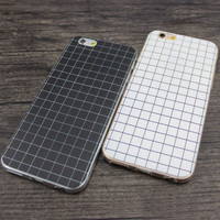 Brief Fashion Phone Case for Apple iPhone 5 5s 6 6s Grid lines Design Soft TPU Silicone Protective Dustproof Phone Cover