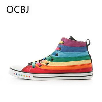 Women Sneakers Rainbow Candy Colors Canvas Shoes For Girl Fashion High-Top New Female Casual Leisure Colorful Striped Casual