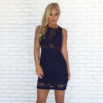 Poetic Love Crochet Dress in Navy Blue