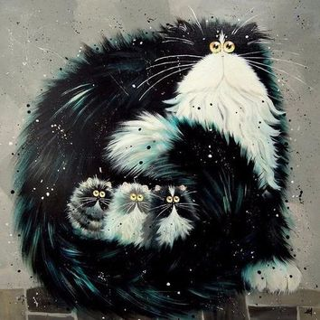 5D Diamond Painting Black Puff Cat Collection Kit