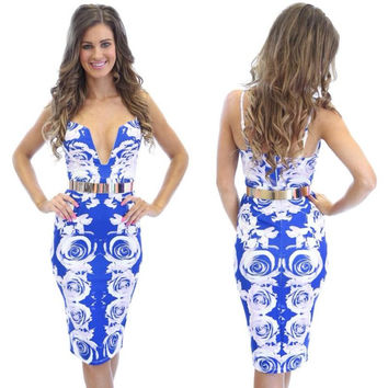 Royal Blue Printed Spaghetti Strap V-neck Belted Bodycon Midi Dress