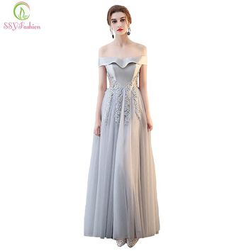 New Evening Dress The Banquet Elegant Simple Grey Satin Lace Appliques Floor-length Party Formal Gown