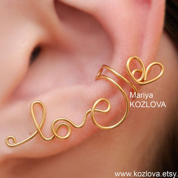"Cartilage ear cuff  ""Gold Tender LOVE""  - no piercing-fake piercing ear wires-  wire writing"