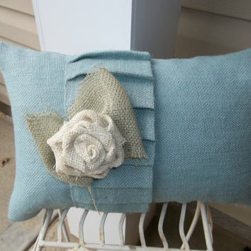 "Burlap Country French Single Ruffle Blue Burlap pillow 11"" X 17"" Cottage style, decorative pillow, wedding pillow"