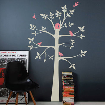 Kids Wall Decal White Tree Wall Decal Pink Grey Children Nursery Decor Rocky Mountain Decals