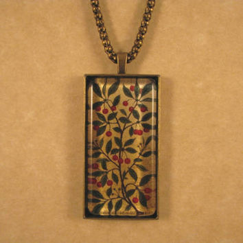 Cherries Panel William Morris/Philip Webb Antique Gold Large Rectangle Glass Pendant with Chain Necklace Arts and Crafts Jewelry