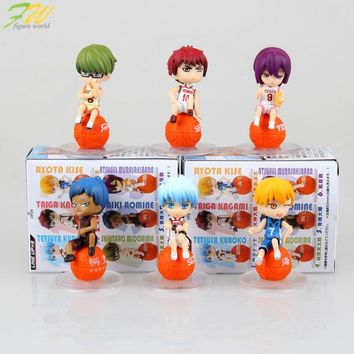 (6pcs/lot) Action figure Kuroko no Basket Sitting ball cute lovely cartoon doll PVC 6cm box-packed japanese figurine anime160194