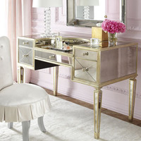 Haute House Shelly Vanity Chair & Amelie Mirrored Vanity