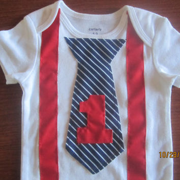 Boy first birthday outfit, Boy's red suspender birthday Onesuit, Boy navy blue stripe neck tie first birthday onsie, baby's birthday outfit