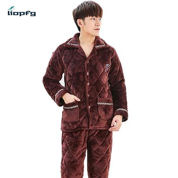 2017 New Men's Pajamas Suit Coral Velvet Quilted Three Thickening Warmth Flannel Men's Cotton Jacket Large Size Package QW005