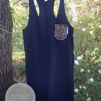 Leopard Fabric Pocket Dress