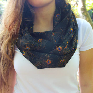 Peacock Feather Infinity Scarf - Blue Accent on Brown Background