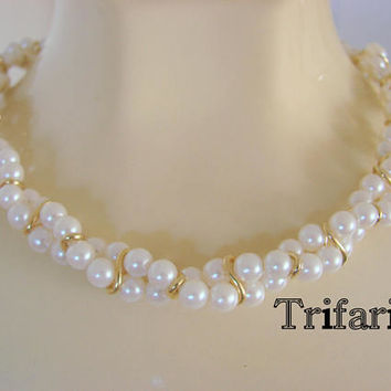 Vintage Trifari Faux Pearl Goldtone Rope Twist Necklace Designer Signed Jewelry Jewellery