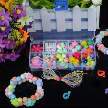 Diy Children's Puzzle bracelet Geometric Shape Beads Toys for Girls Amblyopia Candy Colors Wear Beads Kids educational Toys gift