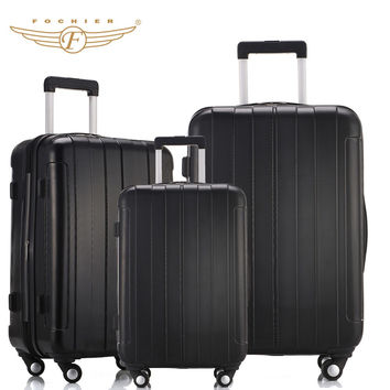 Black Color ABS PC Travel Business Carry-on Luggage Suitcase 20 24 28 Upright Durable Cabin Case Spinner 4 Wheels Fochier XQ018