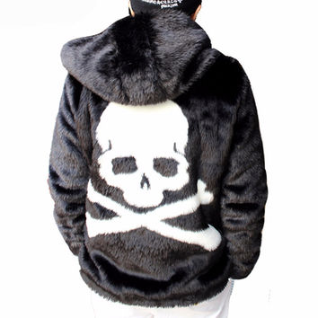 Coat Men Winter Skull Black Thick Hooded Faux Fur Coat Jackets Full Length Parka Coats Windbreaker
