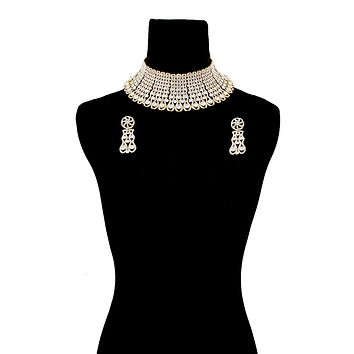 Gold and Graduated Round Rhinestone Rigid Collar Choker Necklace Set