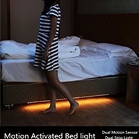 ALight House Bed Lighting Night Light Kit Motion Activated Flexible RGB 5050 LED Strip Sensor Illumination with 44 keys Remote Controller and Power Supply Adapter