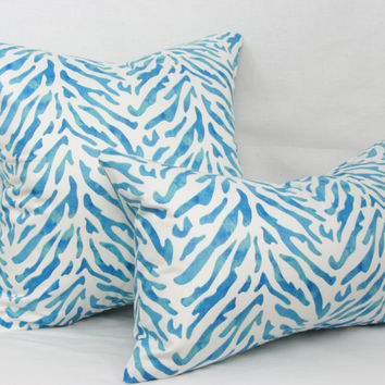 "Blue & white pillow cover. Waverly Reef twill decorative pillow cover. 20"" x 20"" pillow."