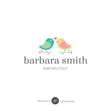 Kid logo design, Wedding logo, Baby boutique, Modern logo, Birds logo, Branding kit, Premade logo design, Blog brand, Small business logo 77