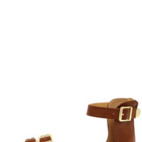 City Classified Saloma Tan and Gold Ankle Strap Sandals