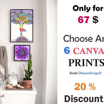 Set Of Any 6 CANVAS PRINTS, 20 % Of 6 piece prints, Animal Elephant Drawing Prints, Nursery Kids room wall decor, OOAK Prints, Boho Yoga Art