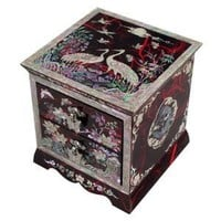 Mother of Pearl Asian Lacquer Women Wooden Jewelry Trinket Keepsake Treasure Gift Girls Jewel Ring Drawer Box Chest Case Organizer with Flower and Crane Design in Red Korean Mulberry Paper