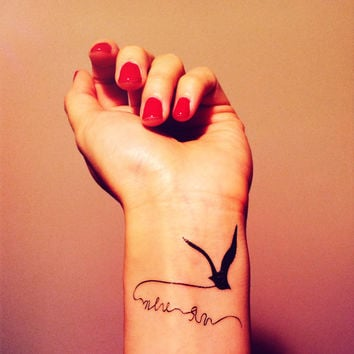 2pcs flying bird seagull tattoo - InknArt Temporary Tattoo - set wrist quote tattoo fake tattoo wedding tattoo small