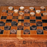 Vintage Checker Board - Still Life Photography - Primitive - Antique Game Pieces
