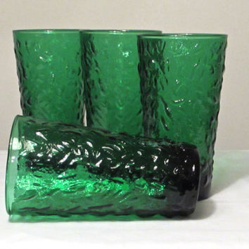 Emerald Green Drinking Glasses Set of 4 Anchor Hocking Milano Lido Drinking Glasses