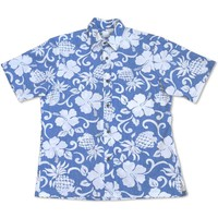 Royal Pineapple Blue Hawaiian Reverse Shirt