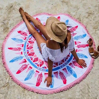 59¡± Indian Mandala Round Tapestry Beach Picnic Blanket 10257