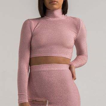 Long Sleeve Glitter High Neck Crop Top