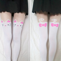 Kitty Cat Thigh High Tights