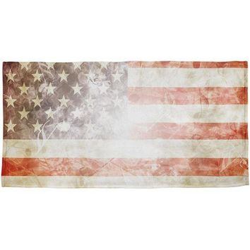 PEAPGQ9 4th of July American Flag Star Spangled Banner All Over Beach Towel