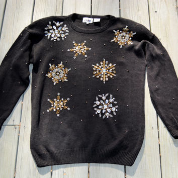 Stunning Vintage Snowflake Beaded Sweater Womens Holiday Sweater Medium Black Sparkly Seasonal Winter Pullover
