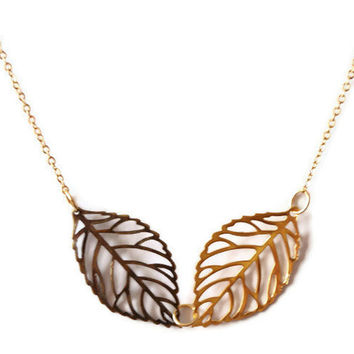 Gold plated leaf necklace, modern necklace, everyday wear necklace by SABOTAGEandCO