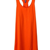Women All Matched Pure Color Scoop Sleeveless Slim Cotton Orange Dress One Size@WY2052o $7.99 only in eFexcity.com.