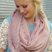 Mountain Clouds Raw Edge Infinity Scarf