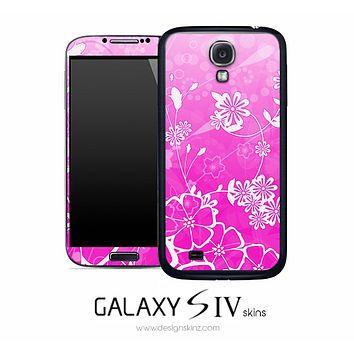 Pink Abstract Floral Skin for the Galaxy S4