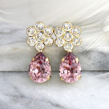 Pink Earrings, Bridal Blush Earrings, Bridal Pink Earrings, Gift For Her, Bridesmaids Earrings, Antique Pink Crystal Earrings, Pink Studs