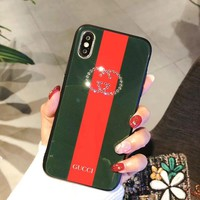 GUCCI iPhone8 full bag silicone iPhone6plus protection shell 7P female hair ball female