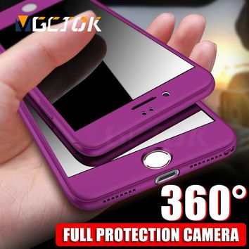 360 Protective Full Cover Cases For iPhone 8 7 6 Plus Phone Case With Tempered Glass For iPhone 6S 7 8 Plus