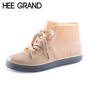 HEE GRAND Lace-Up Rain Boots Fashion Solid Flats Ankle Boots Casual Silver Women Boots Shoes Woman 4 Colors Size 35-40 XWX3072